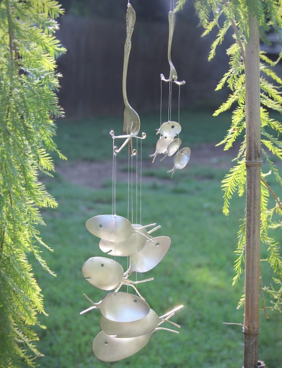 XXL - Spoon Fish Windchimes - upcycled from silver anitique serving utensils, Flatware wind chime, Musical garden Art, Nautical Yard Decor