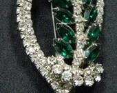 WOW and WOW Large Emerald Green and Clear Rhinestone Brooch( Reserved at this moment)