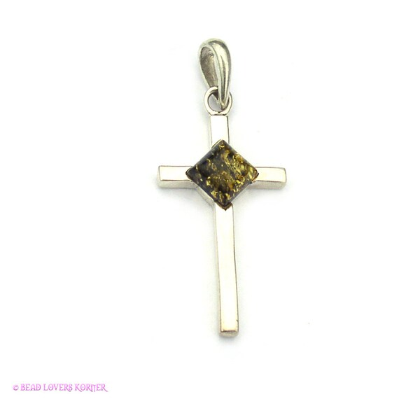 Sterling Silver Cross Pendant with Amber