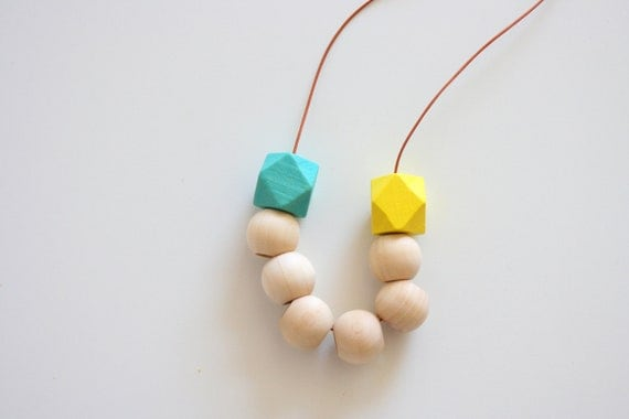 Natural Raw Round Wood Beads paired with Yellow & Turquoise Hexagon Beaded Necklace