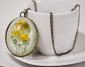 Resin Pendant real dried buttercup necklace
