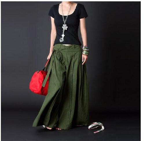 Elegant Linen Wide Leg Pants - Deep Green - Women Clothing (R)