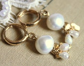 Pearls white classic pearl earrings - 14k Gold field earrings and real sea pearls and fresh water pearls .