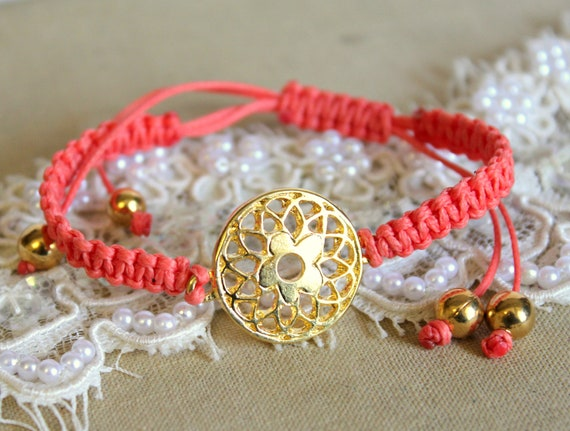 Friendship bracelet gold lace and orange braided