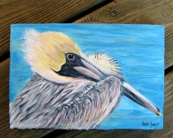 Pelican Painting Original Acrylic Gallery Wrap Canvas