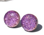 "Dichroic Button Stud Earrings, Fused Glass Jewelry, Post, Round, Circle, Pastel, Lavender, Pink, 1/2"" 1.3cm (Item 30406-E)"