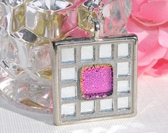 Mosaic Art Pendant, Dichroic Glass, Mirrored Art Glass, Square, Tray Pendant, Silver Glass, Pink, Unique Gift (Item 10495-P)