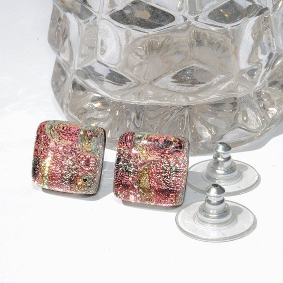 """Small Dichroic Stud Earrings, Fused Glass Jewelry, Posts, Morning Dawn, Square, Shabby Chic, Pink, Peach, Coral, 3/8"""" 9mm (Item 30409-E)"""