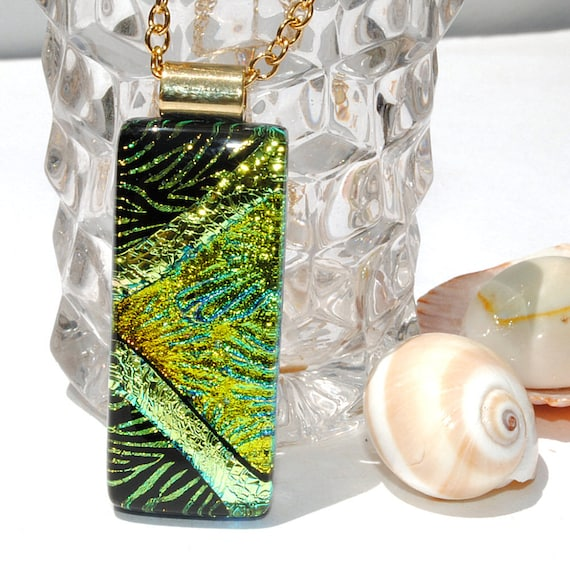 Dichroic Pendant, Fused Glass Jewelry, Contemporary, Rectangle, Color Shifting, Gold, Green, Black, Fireworks, Starbursts (Item 10463-P)
