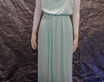 CLEARANCE  Vintage Sea Foam Green 70's Maxi Dress  S/M
