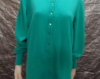 SALE Vintage Teal Wool & Angora High Neck 80's Sweater  M