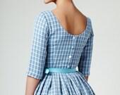 50s Dress, Wedding dress, Bridesmaid Dress, Low Back Dress, Boat Neck Dress, Blue Dress, 50s Dress by Mrs Pomeranz