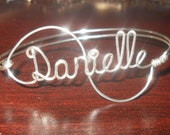 Personalized Bangle Bracelet, Sterling Silver Wire Name, Custom Script Name Jewelry