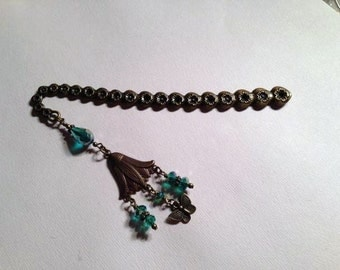 Brass Bookmark Teal Crystals Flower Butterfly Charms Handcrafted Unique Book Reader