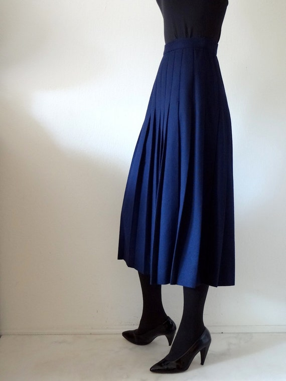 1970s a-line skirt / wool pleated skirt