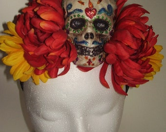 FRIDA'S FLAMING HEART Sugar Skull - A Hand Painted Skull on a Bed of Flowers, Skull Headpiece, Sugar Skull Headdress, Day of the Dead,