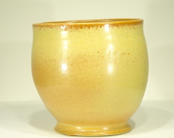 Ceramic Vase, Yellow Tan, Shino Glaze, Pottery Art, Handmade, Hand Thrown, Ornamental Vessel, 107
