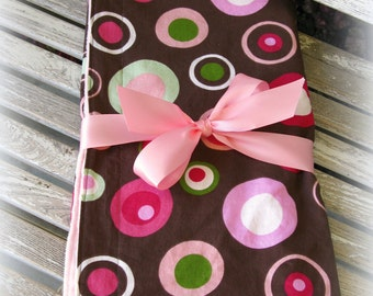 Pink Minky Blanket with Chocolate Brown and Pink Dots/ Baby Girl/ Newborn Gift/ Baby Shower Gift