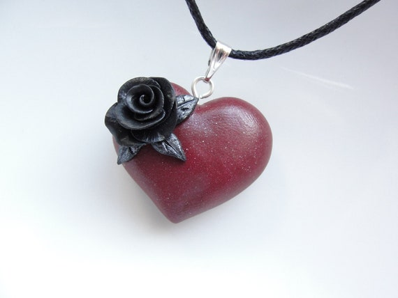 Burgundy heart pendant with black rose on black cotton cord necklace