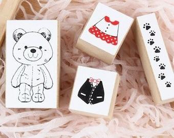4 Kinds Korea DIY Decoden  Wooden Stamp Set  Rubber Stamps