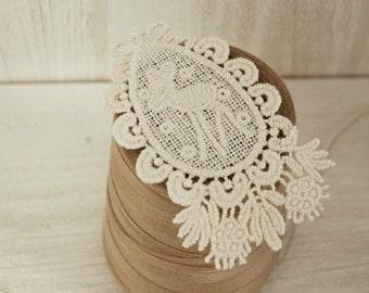 2 Pcs Lace Fabric Doily Trim Lace Fabric Trim Embroidery  Lace Gauze