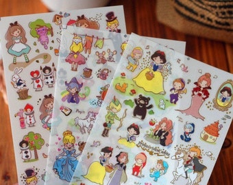 3 Sheets Korea Pretty Sticker Set - Deco Translucent Sticker Set