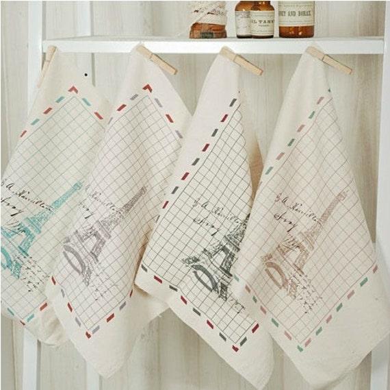 Cotton Linen Fabric Cloth -DIY Cloth Art Manual Cloth-Tower  13x13Inches