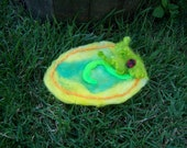 Needle Felted Fairy Landing Pad Fairy Mat Fairy Rug Fairy Bed Yellow and Green - Ready to Ship