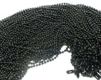 Black Ball Chain Necklaces - 24 inch - 2.4mm Diameter - Set of 50
