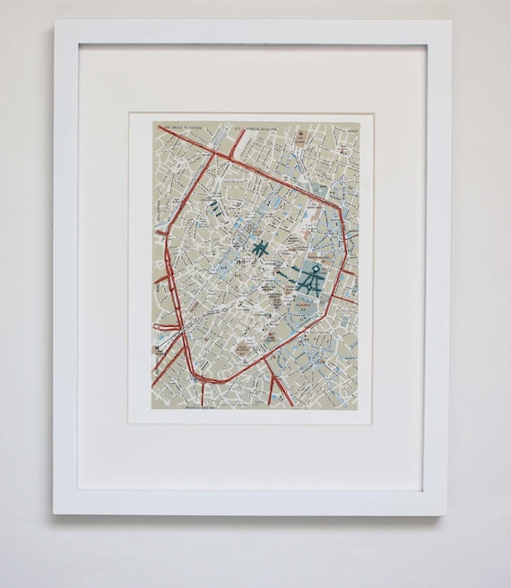 Brussels Belgium Map Embroidered