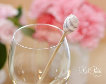 24 Sea Shell Topped Stir Sticks or Drink Stirrers - Beach Wedding