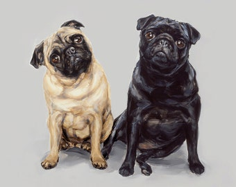 Pug Art print - pair- signed  Ltd. Ed Collectable dog print