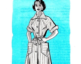 Anne Adams 4716 Bust 30 Misses Day Dress with Button Down Front and Pockets c 1950s UNCUT
