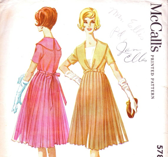 McCalls 5789 Bust 32 Misses Maternity Dress with High Waist and Pleated Skirt c 1961