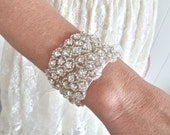 Bridal cuff, bridal bracelet, beaded bridal bracelet, crystal bridal bracelet, rhinestone bridal cuff, crystal bridal cuff - MAIA