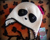 RESERVED FOR CAMEOKO kids crochet wool panda earflap hat