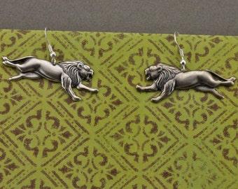 Silver Plate Running Lion Earrings