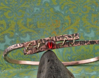 Hand Formed Copper and Glass Bracelet
