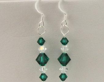 Sterling Silver Emerald Green Czech  Glass Earrings