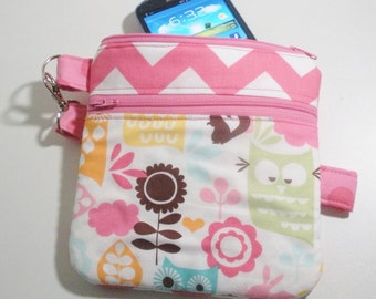 Cell phone wristlet in Chevron stripes and Owls
