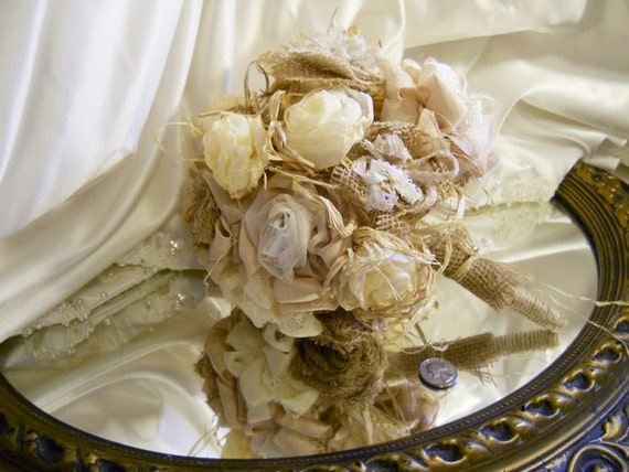 "Burlap Bridal Wedding Bouquet handmade of rustic burlap flowers with a twine wrapped stem. ""READY TO SHIP"""