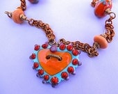 Sassy Southwestern Copper and Heart necklace and earring set - kathleenbradsher