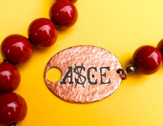 One Piece Ace anime manga inspired necklace etched copper ASCE