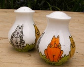 Cats Salt and Pepper pots Shakers Hand Painted Cornwall UK