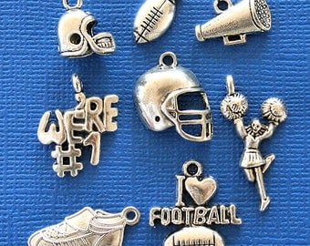 Football Charm Collection Antique  Silver Tone - COL111