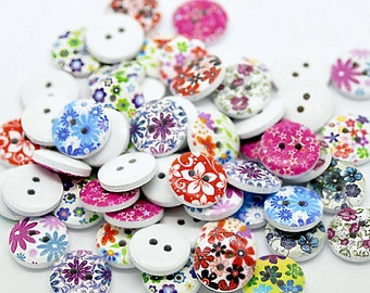 49 Painted Wood Buttons Floral Design Assortment on White 15mm BUT156