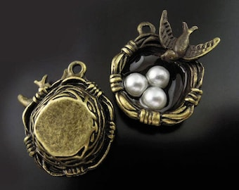 2 Bird Nest Charms  Bronze Tone with 3 Pearl Like Beads Simply Stunning - BC411