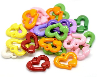 24 Heart Charm Connectors Colorful Kitschy Fun K088