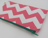 Donated by DaisyLaneDesign - Chevron Zipper Pouch, Cosmetic bag, carry all