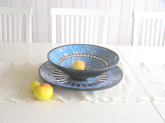 Blue fruit bowl and plate set designer modern mosaic mosaics